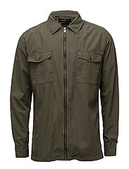 SHXTWOMASON SHIRT LS ZIP - OLIVE NIGHT