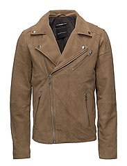 SHXBILLY SUEDE BIKER JACKET - CROCKERY