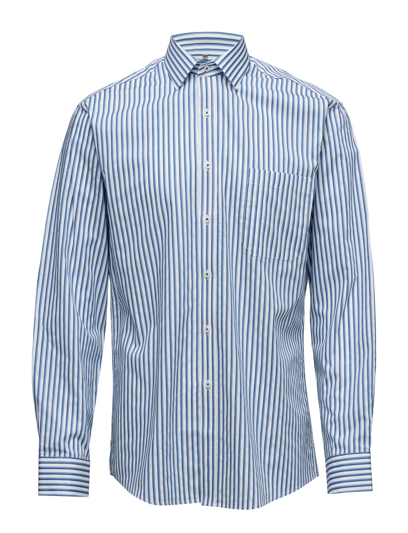 100% Cotton Striped Blue Shirt Modern Fit Seven Seas Casual sko til Mænd i Blå