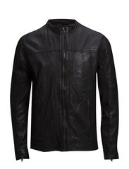 Quilted panel leather jacket - BLACK