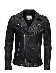 Wornlookleatherbikerjacket - BLACK