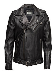 Worn look leather biker jacket - BLACK