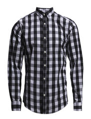 Checked TC shirt L/S - BLACK
