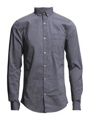 Printed oxford shirt L/S - BLACK