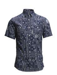 Printed poplin shirt S/S - DARK BLUE