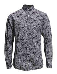 Printed fine twill shirt L/S - BLACK
