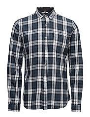 Checked cotton shirtL/S - DARK BLUE