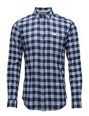 Checked twill shirt L/S - NIAGRA BLUE