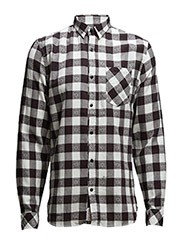 Checked shirts L/S - BLACK