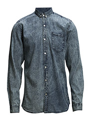 WorngarmentwashedshirtL/S - BLUE