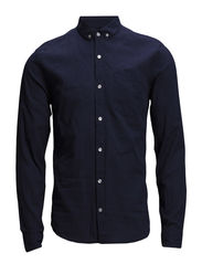 Melange shirt L/S - DK PETROL