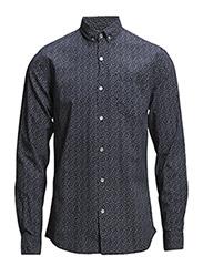Melange shirt L/S - DK PETROL2