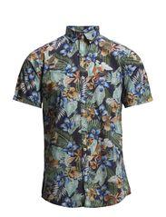 Printed poplin shirt S/S - GREEN