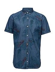 Palm print shirt S/S - BLUE