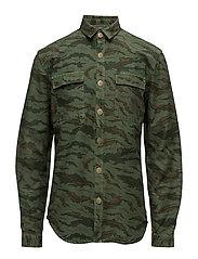 MilitaryprintovershirtL/S - GRASS GREEN
