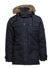 Coat w/ fake fur hood - DK BLUE