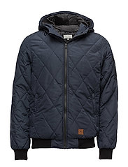 Hooded zip through jacket - DARK NAVY