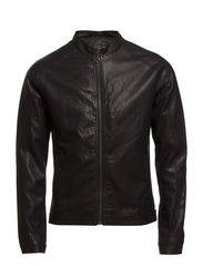 Simple biker jacket - BLACK