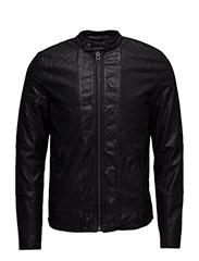 Imitationleatherbikerjacket - BLACK