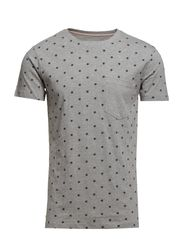 All over printed map tee S/S - GREY MEL