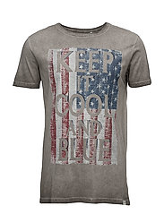 Oil washed printed tee S/S - GREY