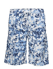Printed surfer shorts - BLUE