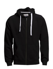 Basic hood sweat cardigan - BLACK