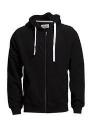 Basic hood sweat cardigan - BLACK