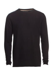 Roll edge knit - BLACK