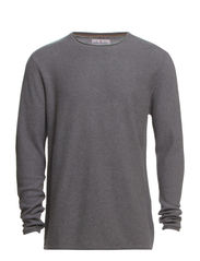 Roll edge knit - GREY MEL