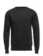 Plain o-neck knit - DK. GREY MEL