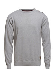 Plain o-neck knit - GREY MEL
