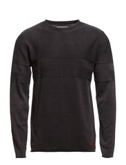 Stonewash o-neck knit - BLACK