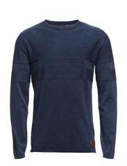 Stonewash o-neck knit - DK BLUE