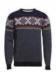 Jacquard O-neck knit - NAVY