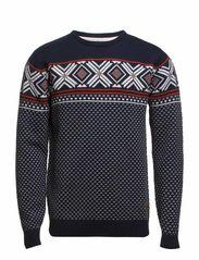Jacquard O-neck knit - NAVY