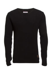 O-neck rib knit - BLACK