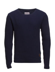O-neck rib knit - DK BLUE