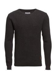 O-neck rib knit - DK GREY MEL