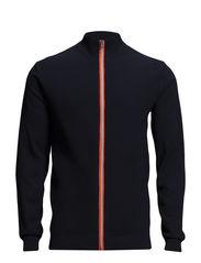 Knit cardigan w/ contrast zip - NAVY