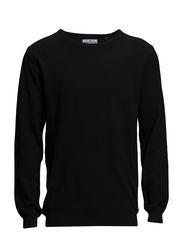 Basic button o-neck knit - BLACK