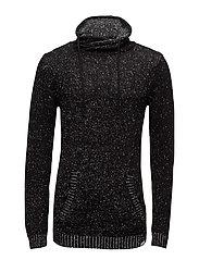 High collar knit, mix yarn - BLACK MIX
