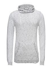 High collar knit, mix yarn - WHITE MIX