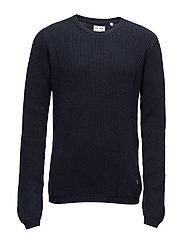 O-neck knit - DARK NAVY
