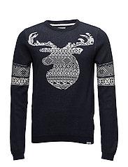 Jacquard merry Christmas knit - NAVY