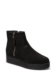 Short boot plateau with zip - Nubuck Black