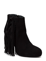 High Heeled Short Boot with fringes - BLACK