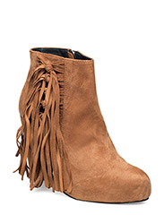 High Heeled Short Boot with fringes - CAMEL