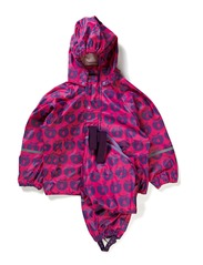 Rainwear set w. Apples - Pink