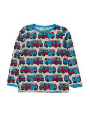 T-Shirt LS. Fire truck - Grey Mix